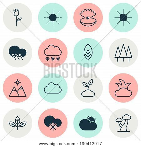 Landscape Icons Set. Collection Of Cloud, Landscape, Sunny Weather Elements. Also Includes Symbols Such As Seashell, Shrub, Sunny.