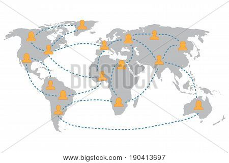 Communication design template. World map with user icon