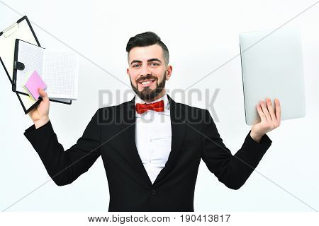 Smiling Employer In Classic Black Suit And Red Bow Tie