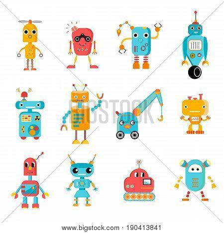 Great robot set. Twelve colorful robot characters. Editable vector image