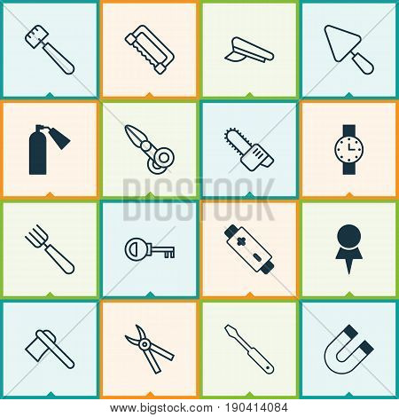 Instrument Icons Set. Collection Of Carpentry, Turn Screw, Pliers And Other Elements. Also Includes Symbols Such As Pincers, Spatula, Hatchet.