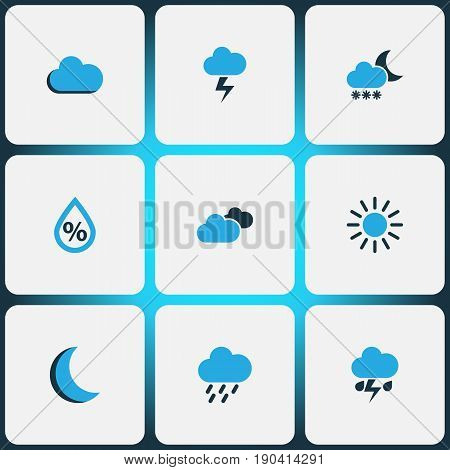 Weather Colorful Icons Set. Collection Of Blizzard, Fog, Rainstorm And Other Elements. Also Includes Symbols Such As Fog, Overcast, Sunny.