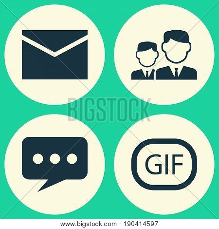 Internet Icons Set. Collection Of Letter, Message, Gif Sticker And Other Elements. Also Includes Symbols Such As Gif, Animation, Letter.