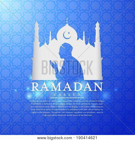 Ramadan kareem with white Mosques silhouettes and muslim man praying vector design
