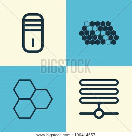 Robotics Icons Set. Collection Of Information Components, Mainframe, Information Base And Other Elements. Also Includes Symbols Such As Hive, Information, Cells.