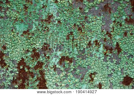 Rusty Metal Plate Surface Texture With Old Green Paint