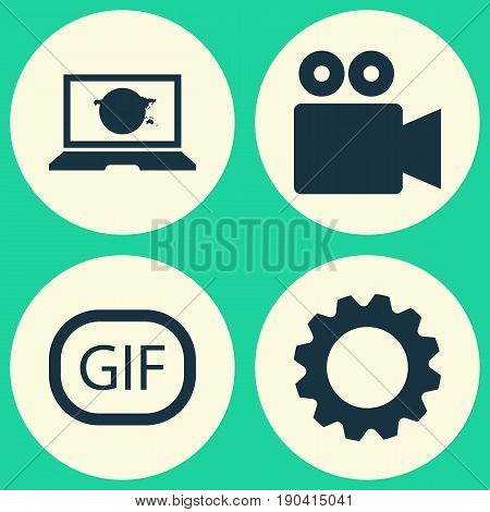 Internet Icons Set. Collection Of Laptop, Camcorder, Gif Sticker And Other Elements. Also Includes Symbols Such As Cogwheel, Setting, Gif.