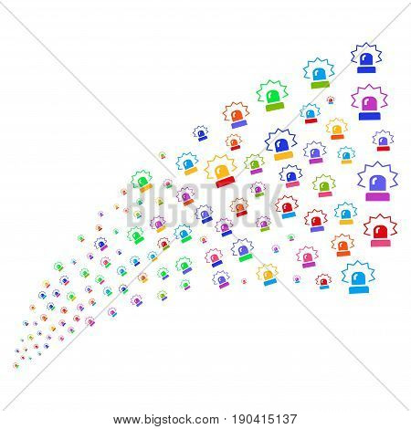 Stream of alarm symbols. Vector illustration style is flat bright multicolored iconic alarm symbols on a white background. Object fountain organized from pictograms.