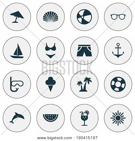 Sun Icons Set. Collection Of Conch, Melon, Mammal And Other Elements. Also Includes Symbols Such As Beach, Sorbet, Smelting.