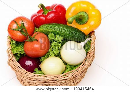 Fitness Concept, Vegetables, Lettuce, Tomatoes, Onions, Peppers, Cucumber In Basket