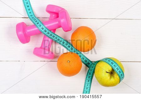 Taut Body Concept, Dumbbells Weight With Measuring Tape, Fruit