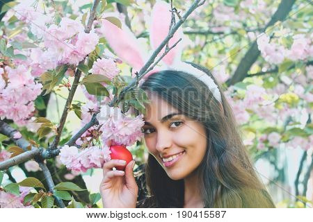 Girl With Bunny Ears Smiling With Red Egg, Sakura