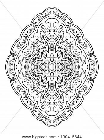 Abstract medallion for design. Template for carpet wallpaper textile and any surface. Vector pattern of black ornament on a white background.