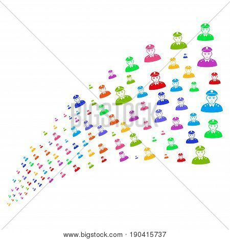 Fountain of army general icons. Vector illustration style is flat bright multicolored iconic army general symbols on a white background. Object fountain combined from pictograms.