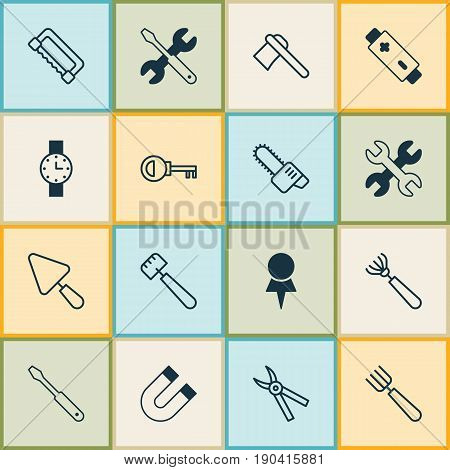 Instrument Icons Set. Collection Of Carpentry, Location, Password And Other Elements. Also Includes Symbols Such As Accumulator, Spanner, Saw-Blade.