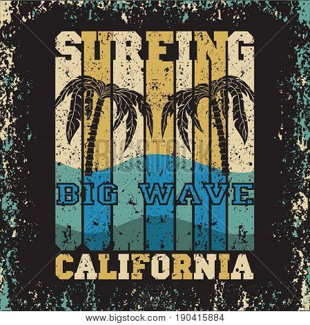 water sport Surfing California big wawe surfing T-shirt inscription typography graphic design emblem