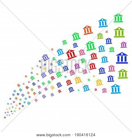 Source of bank building symbols. Vector illustration style is flat bright multicolored iconic bank building symbols on a white background. Object fountain done from symbols.