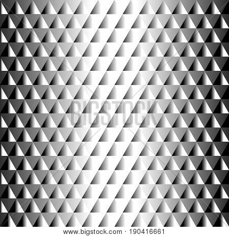 Beautiful geometric black and white tiled  pattern of triangles creating a 3d bulk metal texture