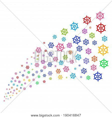 Source stream of boat steering wheel symbols. Vector illustration style is flat bright multicolored iconic boat steering wheel symbols on a white background. Object fountain made from symbols.