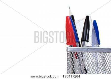 Wire Mesh Desk Tidy With Pens And A Ruler