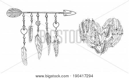Boho elements. Vector illustration with feathers and arrow. Heart of feather. Ornamental bird feathers isolated on white. Black and white