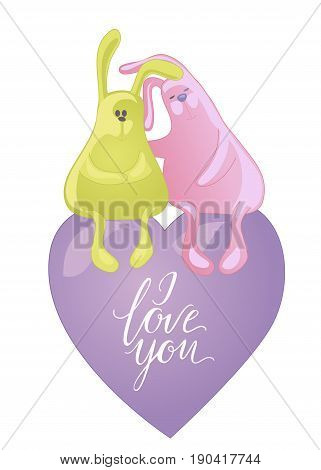 Two embracing rabbits isolated on white background. Cute animals hugs. I love you lettering and heart