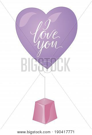 Souvenir for lover. Notes, confess, I love, I love you. Heart on the stand isolated on white background
