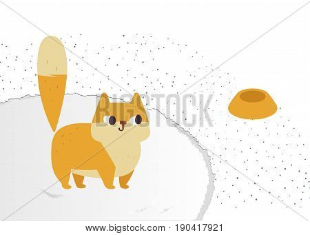 Ginger cat vector. Funny plump cat on a fluffy carpet. Isolated on white background