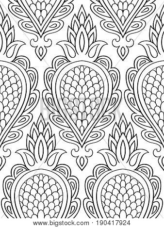 Filigree pattern with abstract fruit. Seamless filigree ornament. Black and white template for wallpaper textile shawl carpet and any surface.
