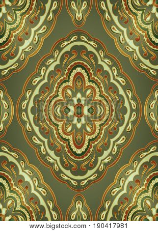 Oriental green ornament. Template for carpet textile wallpaper and any surface.