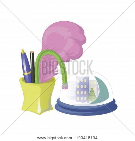 Pencil holder, pen holder, pen case vector illustration. With a table souvenir. Flat modern cartoon design isolated on white