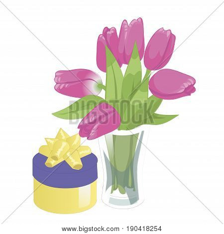 Flower vase and a box with a gift. Flower vase isolated icon on white background. Vase of flowers. Pink tulips. Flat style illustration.