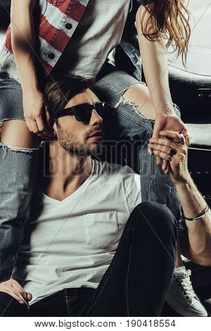 Cropped Shot Young Woman Sitting On Motorcycle And Stylish Man In Sunglasses Looking Away