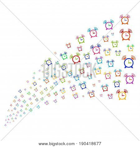 Source stream of buzzer icons. Vector illustration style is flat bright multicolored iconic buzzer symbols on a white background. Object fountain constructed from pictographs.