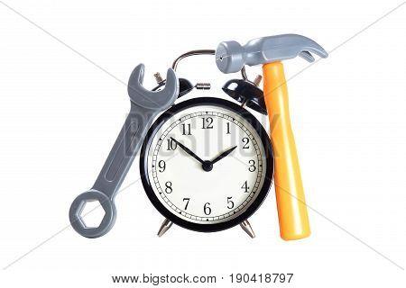 Classic Alarm Clock With Plastic Toy Tools