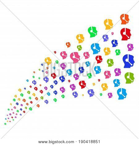 Fountain of call center operator icons. Vector illustration style is flat bright multicolored iconic call center operator symbols on a white background. Object fountain combined from design elements.