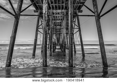 Underneath the fishing pier at Oceanside California.