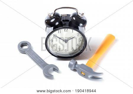 Black Classic Alarm Clock And Tools