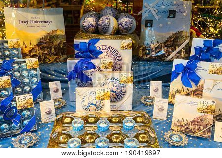 Salzburg, Austria - December 25, 2016: Sweets assortment of Mozart traditional sweets store in Salzburg