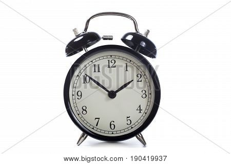 Isolated Round Retro Alarm Clock With Bells