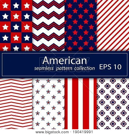 Set. Eight seamless pattern in national American colors. No gradients. Red blue white. Stock vector