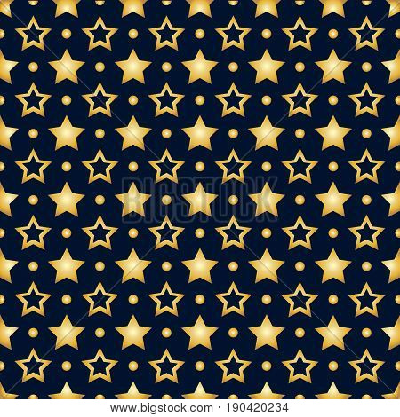 Seamless pattern with gold stars on a dark blue background. Stock vector
