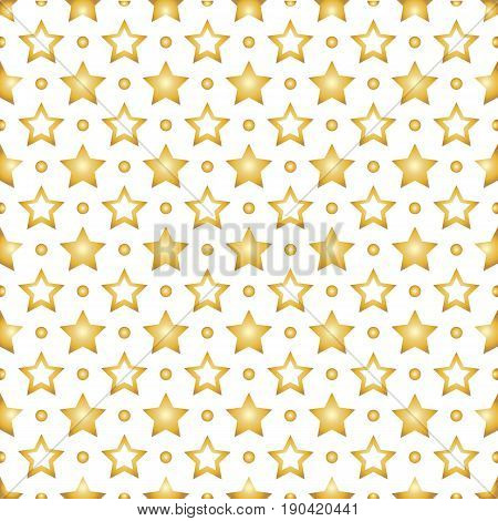 Seamless background with Golden stars on white background. Stock vector.