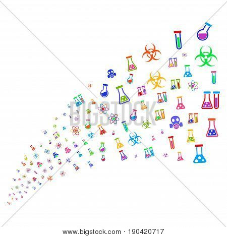 Stream of chemistry symbols. Vector illustration style is flat bright multicolored iconic chemistry symbols on a white background. Object fountain created from design elements.