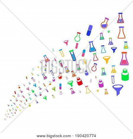 Source of chemistry tubes icons. Vector illustration style is flat bright multicolored iconic chemistry tubes symbols on a white background. Object fountain combined from pictographs.