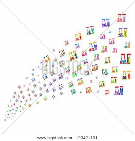 Source of chemistry symbols. Vector illustration style is flat bright multicolored iconic chemistry symbols on a white background. Object fountain constructed from pictograms.
