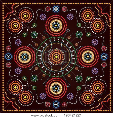 Aboriginal dot art vector background. Illustration based on aboriginal style of dot painting.