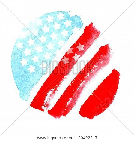 Independence day 4 th july. Watercolor abstract American flag. The symbol of freedom United States of America. For banner design, flyers, poster