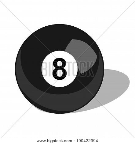 Billiard ball. Sport objects. Billiard ball illustration. 8 Pool ball. Vector stock.