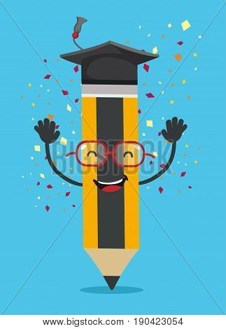 Pencil character with graduation hat. Smiling pencil character. Vector stock.